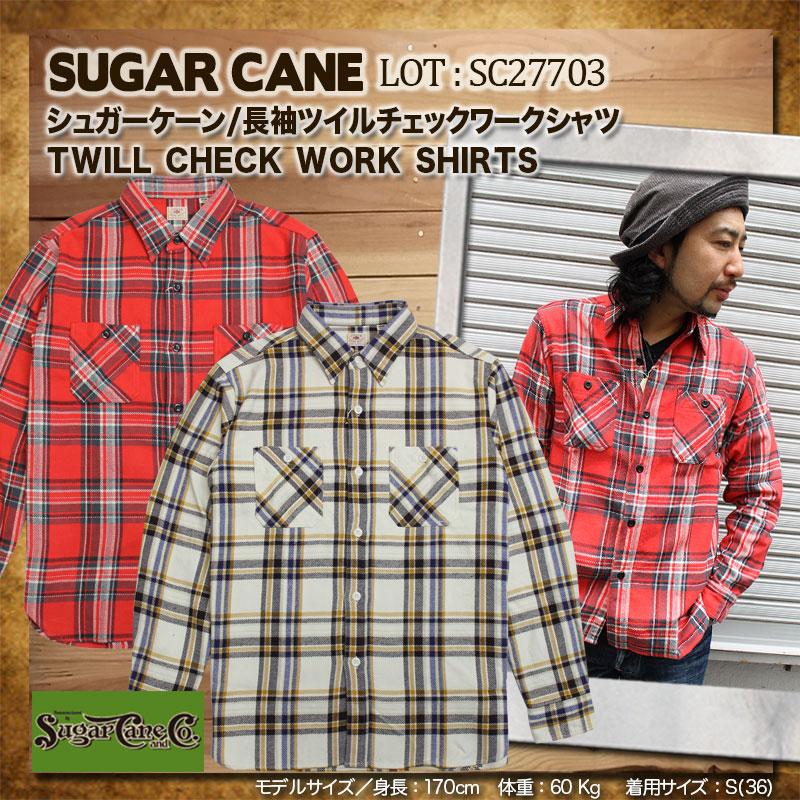 SUGARCANE,シュガーケーン,ツイルチェックワークシャツ,SC27703