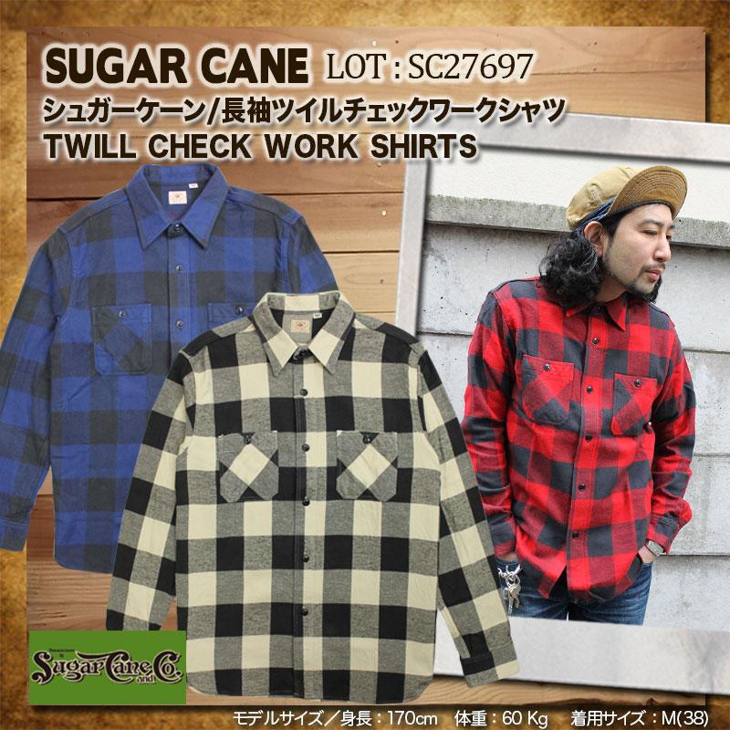 SUGARCANE,シュガーケーン,ツイルチェックワークシャツ,SC27697