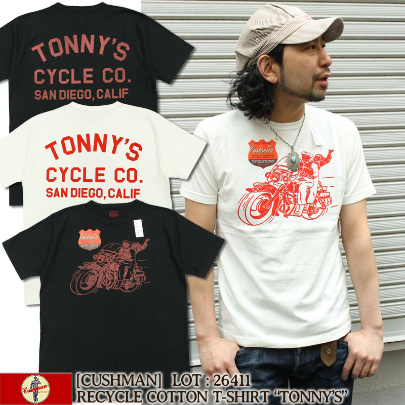 クッシュマン,リサイクルコットンTシャツ,TONNYS,26411