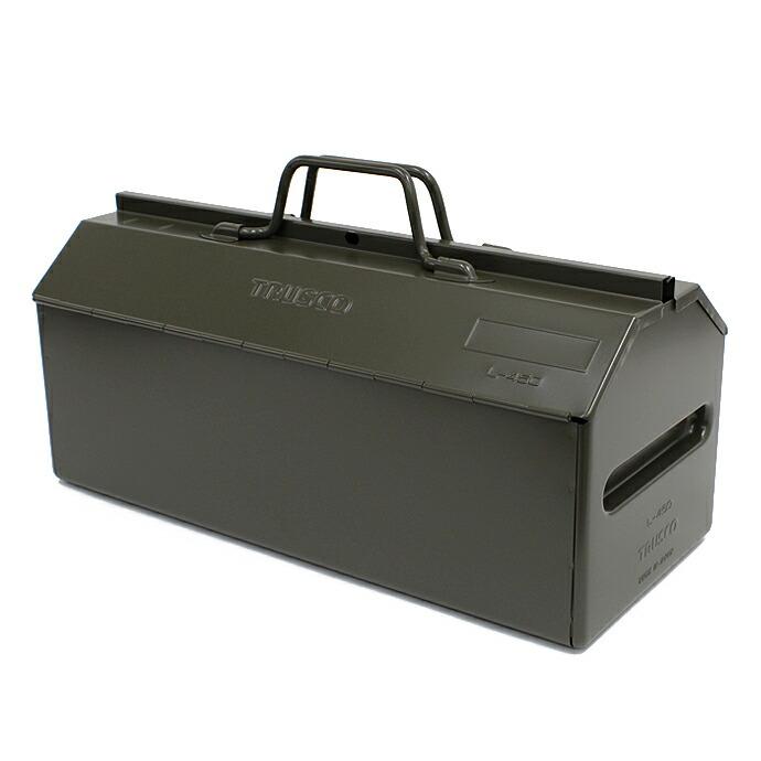 山型中皿付工具箱 オリーブドラブ L-450-OD