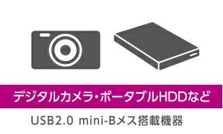 デジタルカメラ・ポータブルHDDなど USB2.0 mini-Bメス搭載機器