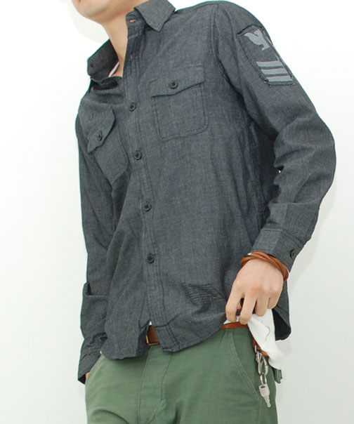 U.S.NAVY 黒 シャンブレーシャツ 長袖(レプリカ)