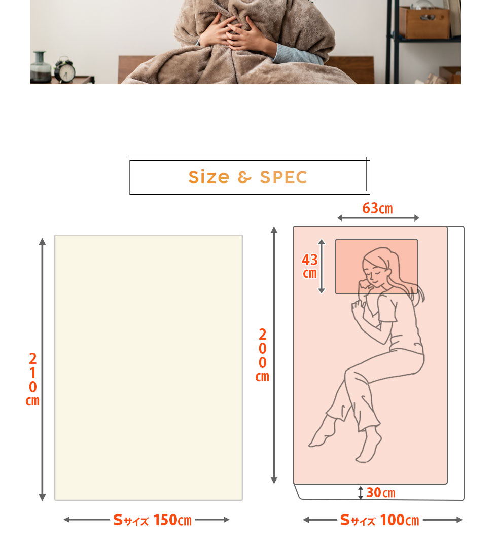 掛け布団カバー、約150×210cm。ボックスシーツ、約100×200×30cm。枕カバー、約43×63cm