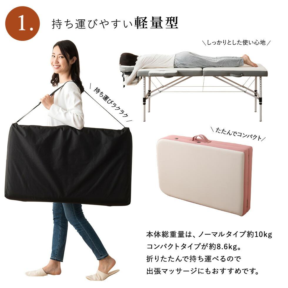 ベッド本体の重さは約10kg。折りたたんで持ち運べるので、出張マッサージにもオススメです。