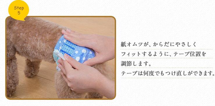紙オムツが、体にやさしくフィットするように、テープ位置を調節します。テープは何度でもつけ直しができます