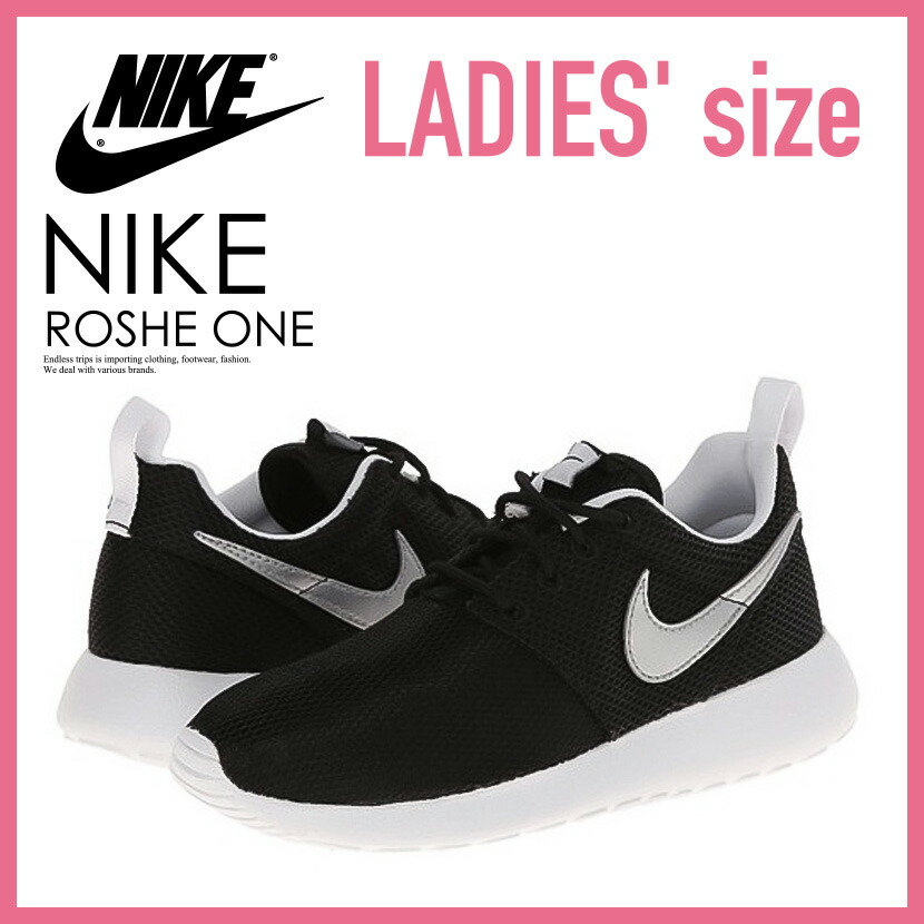low priced 8d751 b0cea NIKE (Nike) ROSHE ONE (GS) Losey one ROSHE RUN (GS) Losey orchid sneakers  BLACK/METALLIC SILVER-WHITE-WHITE black (599728 007) (599728 021) ENDLESS  ...
