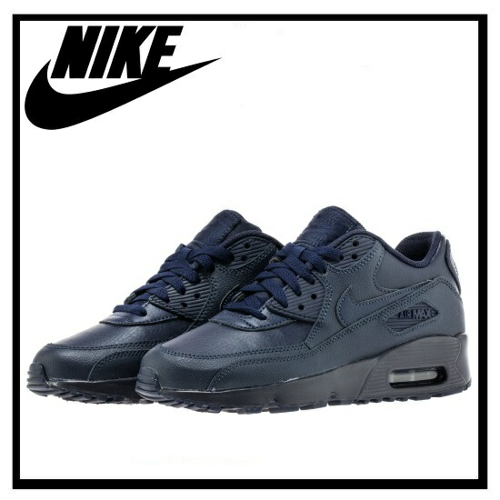 NIKE (Nike) AIR MAX 90 LEATER (GS) LTR (Air Max 90 leather (GS)) Lady's sneakers (OBSIDIANOBSIDIAN) navy (833412 401) ENDLESS TRIP