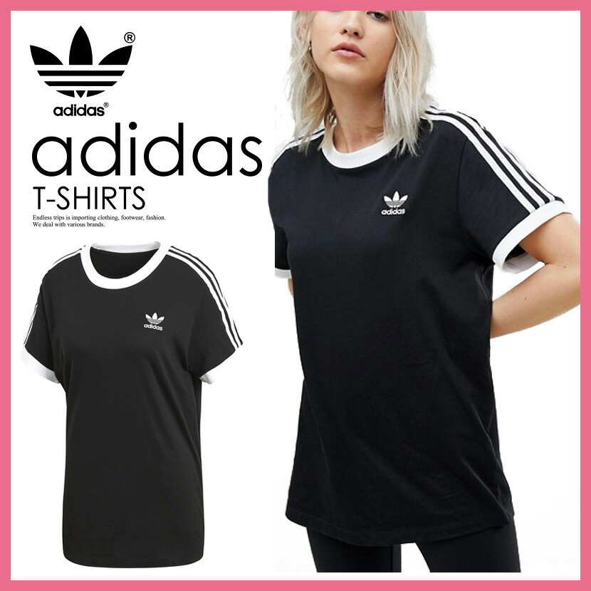adidas 3 Stripes Black Ringer T Shirt | Nike shirts women