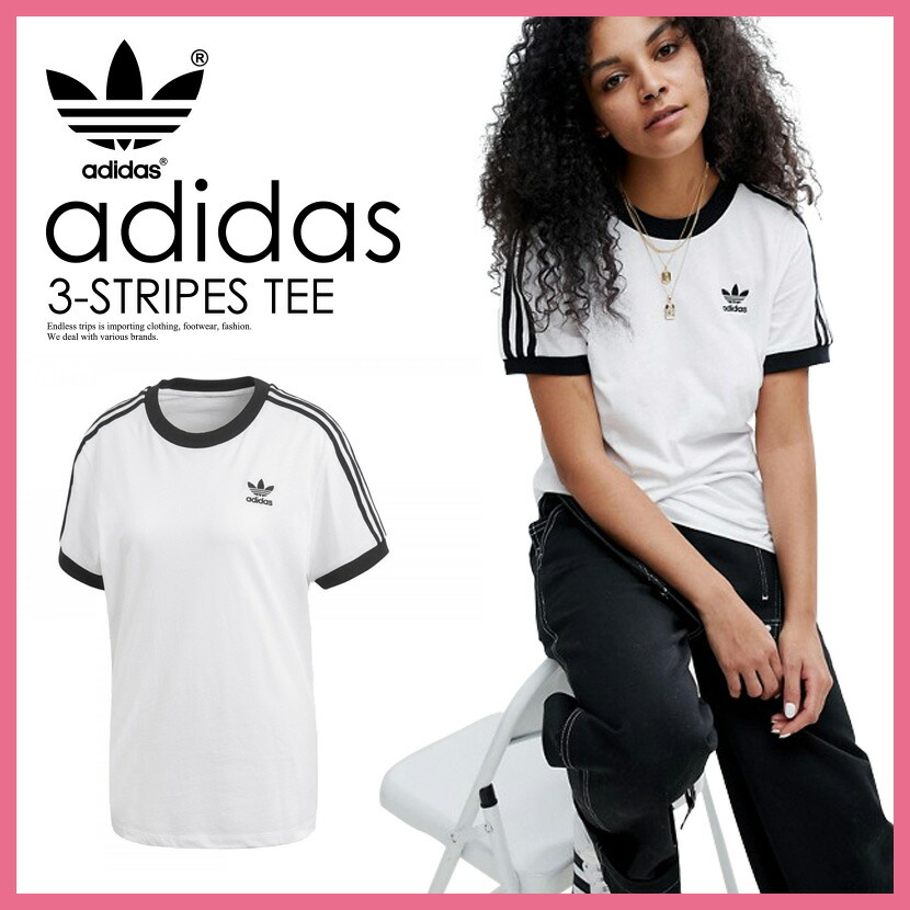 Rakuten shopping marathon! It is lady's T-shirt adidas (Adidas) WOMENS  3-STRIPES TEE (3 stripe T-shirt) LADYS women T-shirt short sleeves logo ...