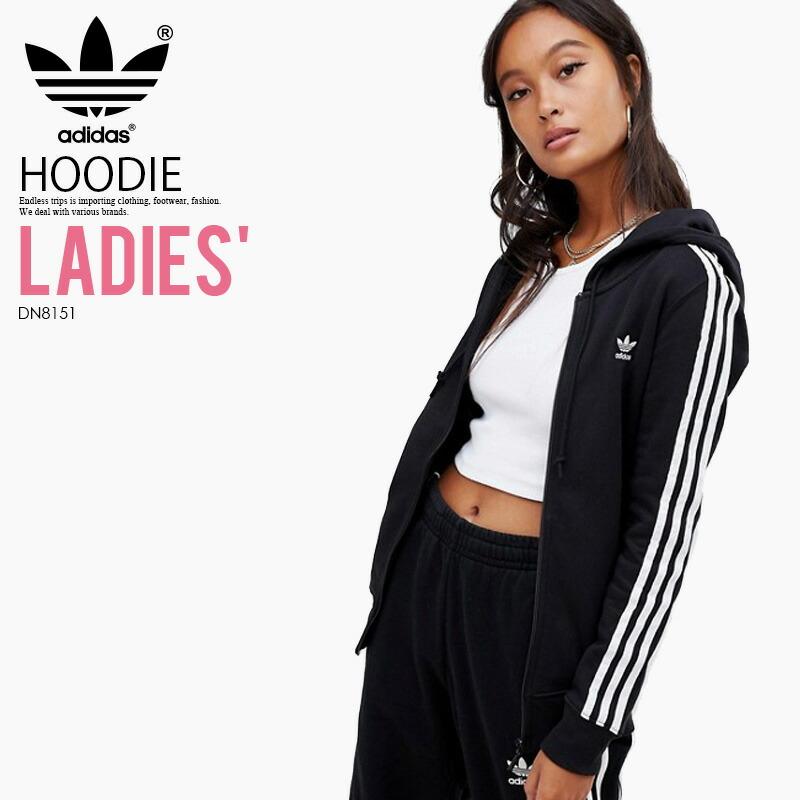 df92a764d9ae adidas (Adidas) WOMENS 3STRIPES ZIP HOODIE (3STR ZIP HOODIE)  (スリーストライプスジップフーディ) long sleeves parka tops zip up Lady's women BLACK  (black) DN8151 ...