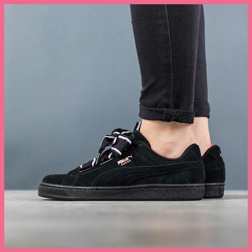 save off 18652 68320 Rakuten supermarket SALE! PUMA (Puma) SUEDE HEART STAIN II WOMEN'S (suede  heart satin 2) WOMENS women sneakers shoes ribbon PUMA BLACK-PUMA BLACK ...