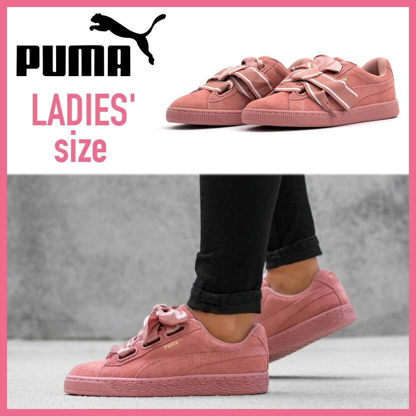 PUMA (Puma) SUEDE HEART STAIN II WOMEN'S (suede heart satin 2) WOMENS women sneakers shoes ribbon CAMEO BROWN CAMEO BROWN (cameo brown) 364,084 03