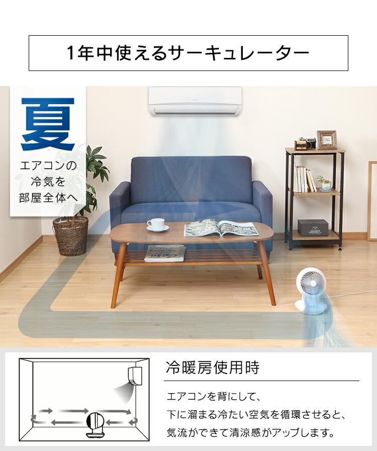 夏:エアコンの冷気を部屋全体へ