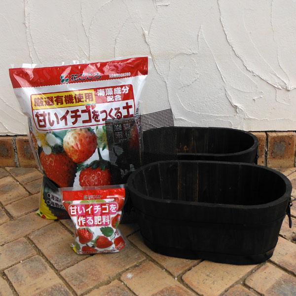 いちご用 焼杉プランター:小判(小)2個と土と肥料のセット