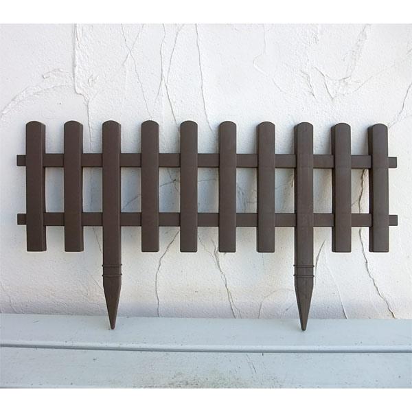 ガーデンフェンスかきね60L型ブラウン3枚セット(高さ32cm、地上部高さ20c