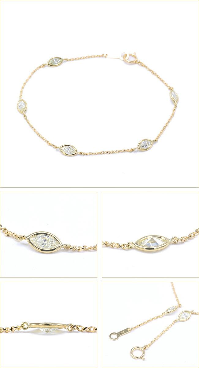 マーキスカットダイヤモンド ステーションブレスレット  -銀座のジュエリーショップ ENJUE-