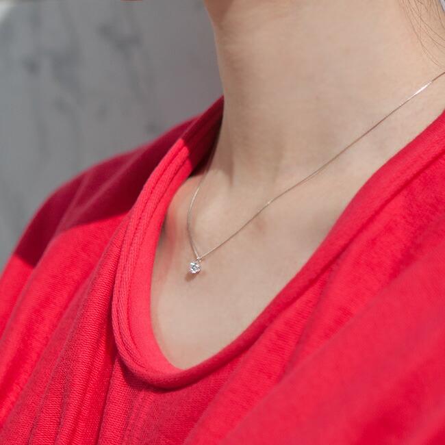 鑑定書付き ダイヤモンド一粒ペンダントネックレス 0.3ct Dカラー SI-2 EXCELLENT ソーティング付 Pt900/Pt850 プラチナ ダイヤ ダイヤモンド ペンダント 1粒  -銀座のジュエリーショップ ENJUE-