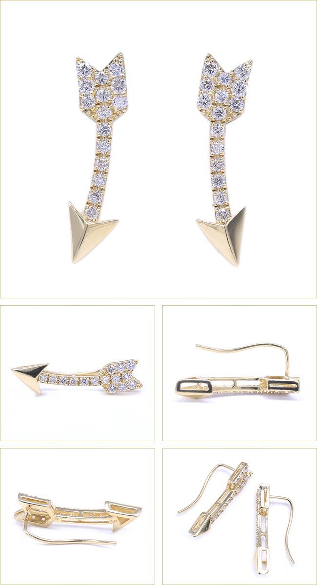 矢印 矢 Arrow アロー 矢 ダイヤモンド デザイン ピアス -銀座のジュエリーショップ ENJUE-