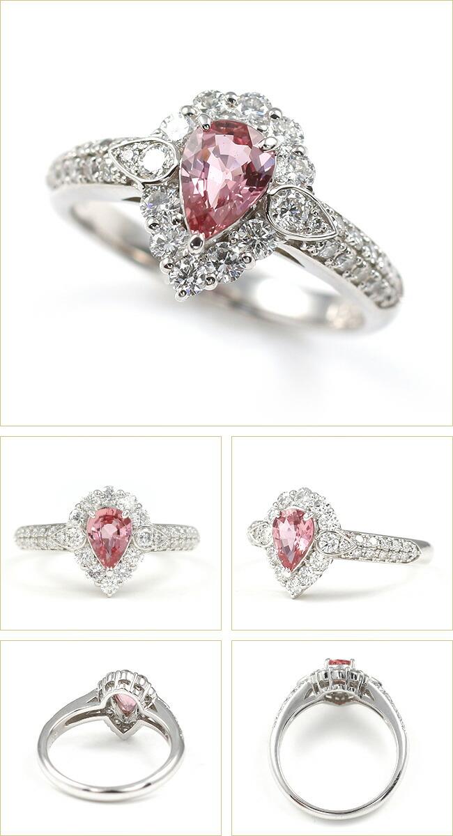 パパラチアサファイア ダイヤモンド ダイヤ リング 0.5カラット 0.5ct -銀座のジュエリーショップ ENJUE-