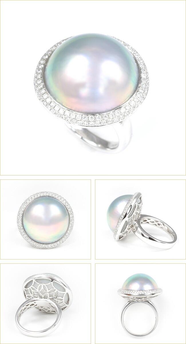 マベパール マベ貝 マベ真珠 19mm パヴェ リング ダイヤモンド 0.5ct パール 鑑別 -銀座のジュエリーショップ ENJUE-
