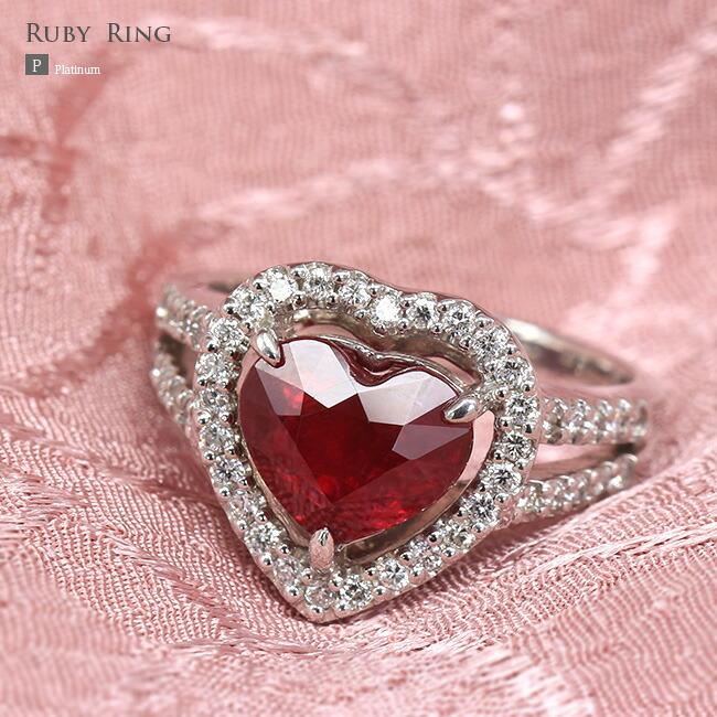 ルビー 非加熱 ハートシェイプルビー ダイヤモンド ダイヤ リング ルビーリング 2カラット 2.0ct 0.3ct 0.3カラット鑑別書 -銀座のジュエリーショップ ENJUE-