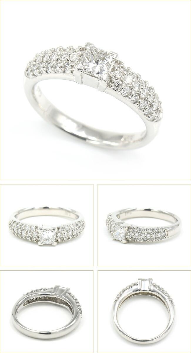 プリンセスカット 0.40ctダ ダイヤモンドリング 合計0.9ct Pt900 プラチナ  -銀座のジュエリーショップ ENJUE-