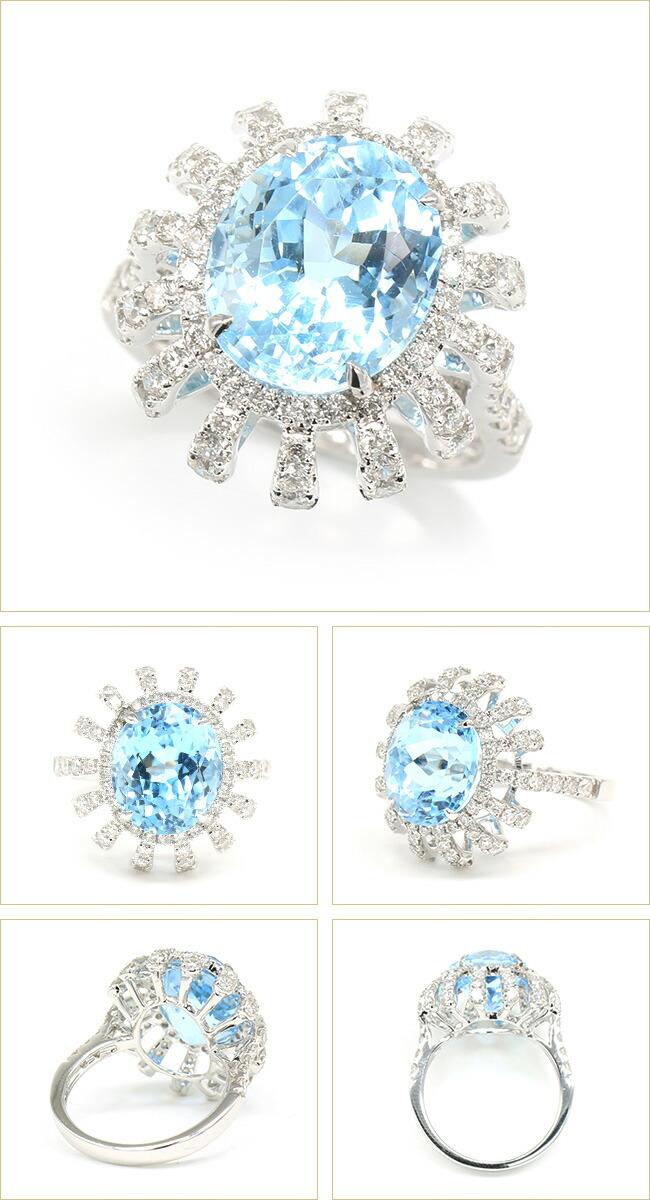 ブルートパーズリング ダイヤモンド リング K18 ゴールド ダイヤモンド -銀座のジュエリーショップ ENJUE-