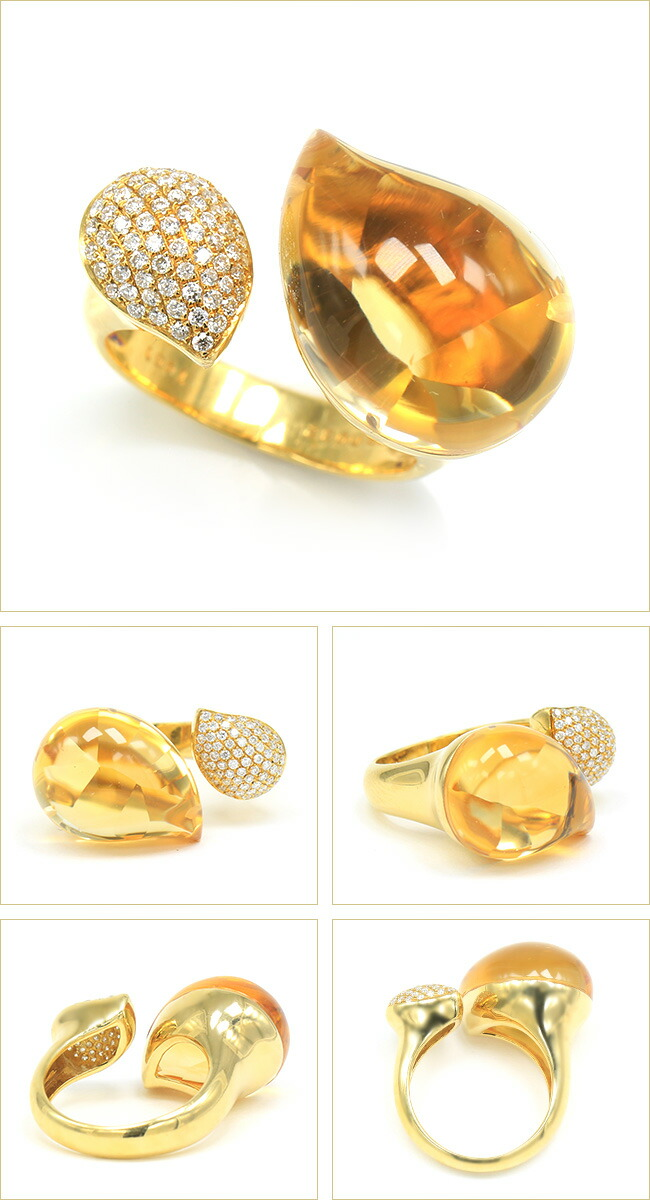 シトリンリング 14カラット ダイヤモンド リング K18 ゴールド ダイヤモンド -銀座のジュエリーショップ ENJUE-