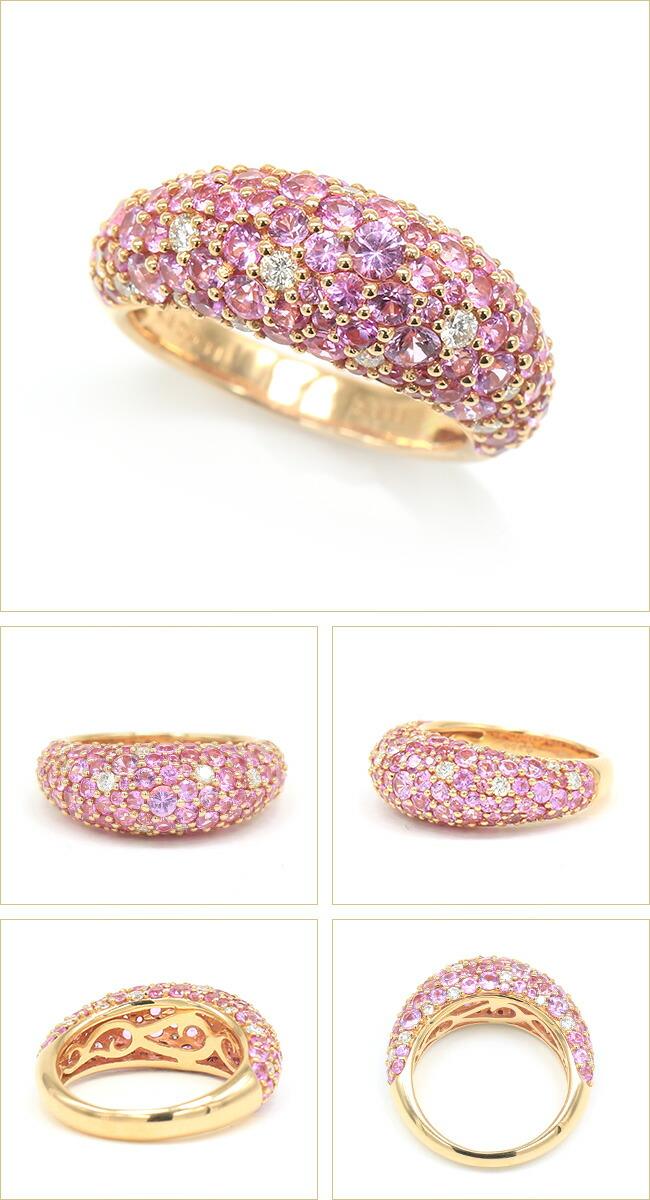 ピンクサファイア パヴェリング ダイヤモンド K18ピンクゴールド リング ダイヤ -銀座のジュエリーショップ ENJUE-