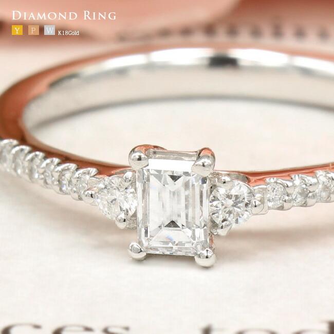 エメラルドカット・エンゲージリング・リング・ダイヤモンドリング・ダイヤモンド・ -銀座のジュエリーショップ ENJUE-