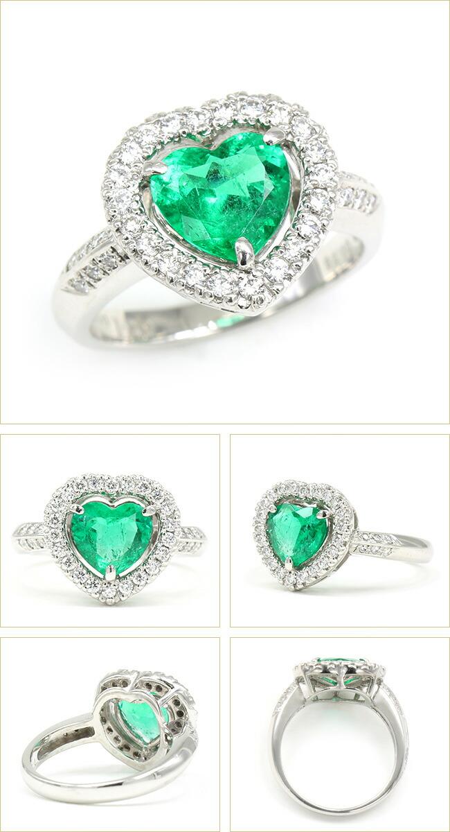 エメラルド  ダイヤモンド リング   Pt900 プラチナ -銀座のジュエリーショップ ENJUE-