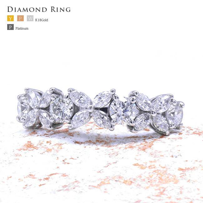 ダイヤモンド マーキスカット 冠 クラウン フラワー ダイヤ リング -銀座のジュエリーショップ ENJUE-