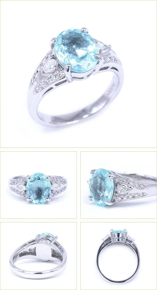 パライバトルマリン パライバ ダイヤモンド 取巻き リング ブラジル -銀座のジュエリーショップ ENJUE-