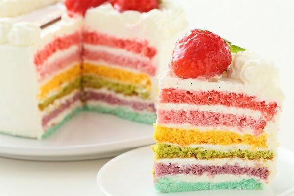 クリスマスレインボーケーキ6号サイズ  クリスマスケーキ 誕生日ケーキ バースデーケーキ お菓子工房アントレ