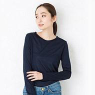 シルク100% ジャージー クルーネックTシャツ 長袖 日本製