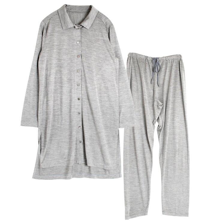 シルク100%ジャージー 前開きパジャマ 上下セット 日本製