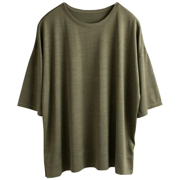 シルク100% ジャージー 五分袖Tシャツ 日本製 Uネック