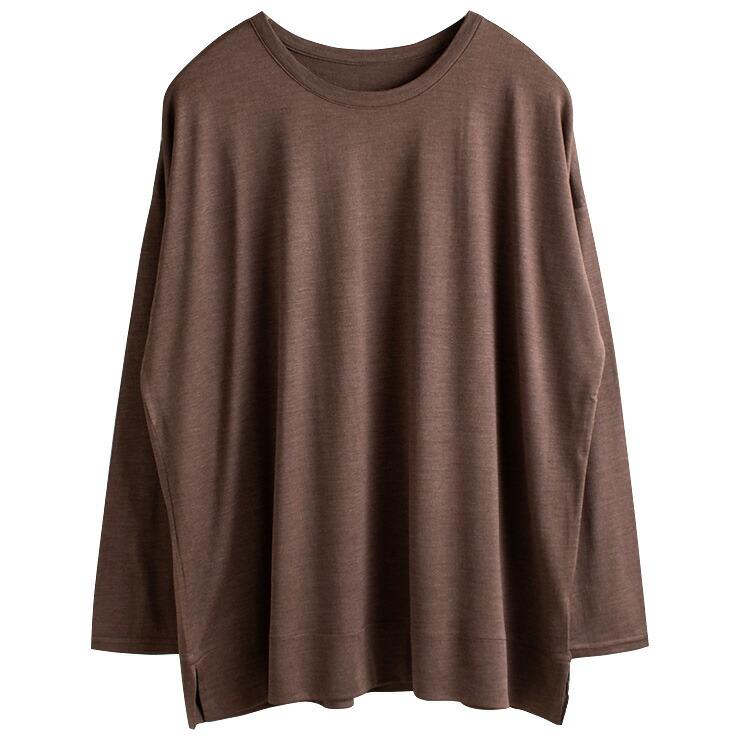 シルク100% ジャージー 長袖Tシャツ 日本製 Uネック