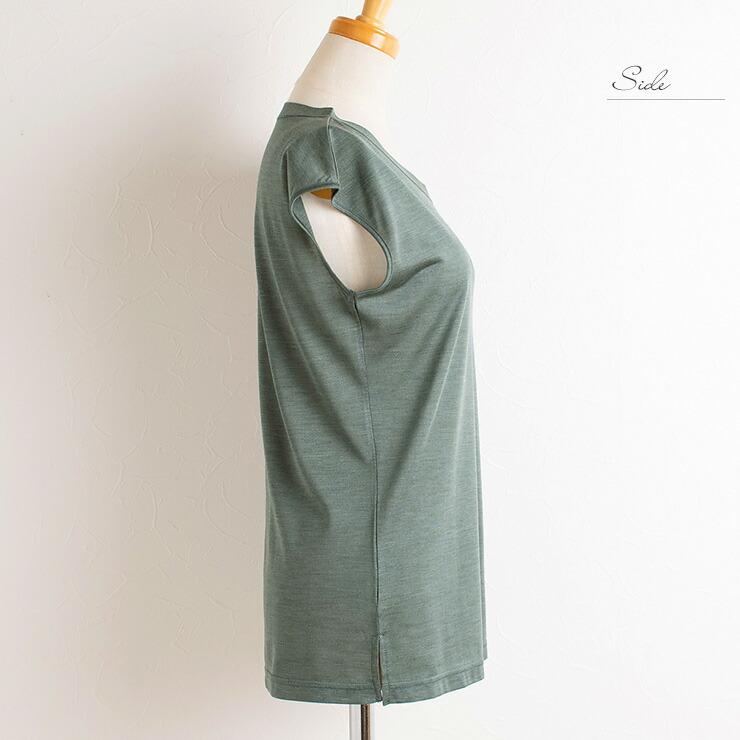 シルク100% フレンチ袖 トップス レディース イエロー グリーン ブルー M/L
