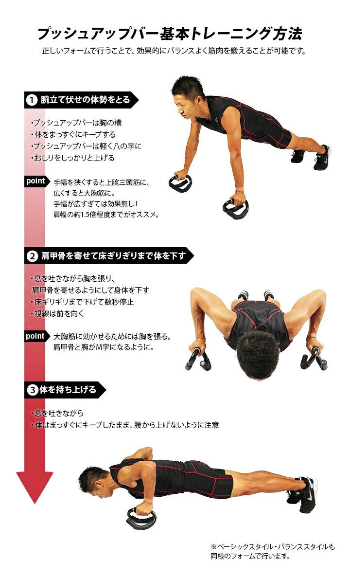 プッシュアップバー基本トレーニング方法