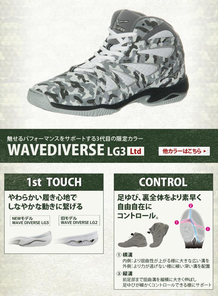 ミズノ(wave diverse)LG3LtdグレーK1GF177505