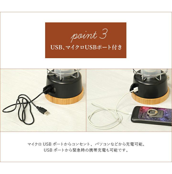 USB、マイクロUSBポート付き