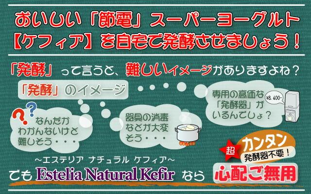 高価な発酵器も面倒な器具の消毒もいりません。エステリア ナチュラル ケフィア はとても簡単です。