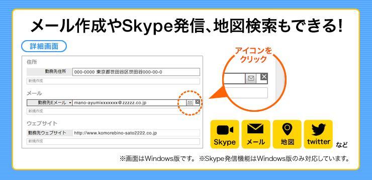 メール作成やSkype発信、地図検索もできる