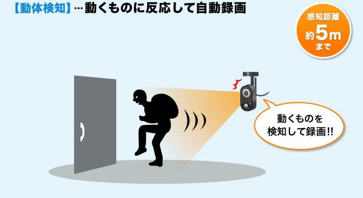 動体検知 動くものに反応して自動録画