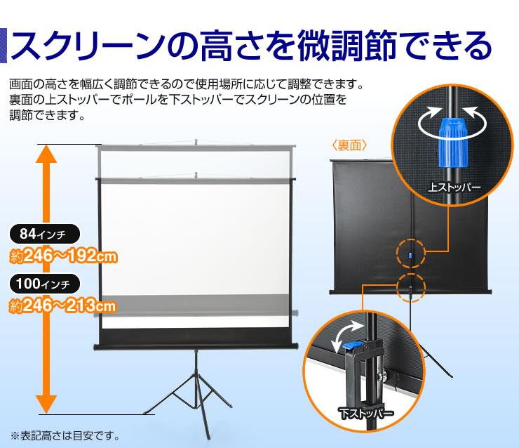 スクリーンの高さを微調節できる
