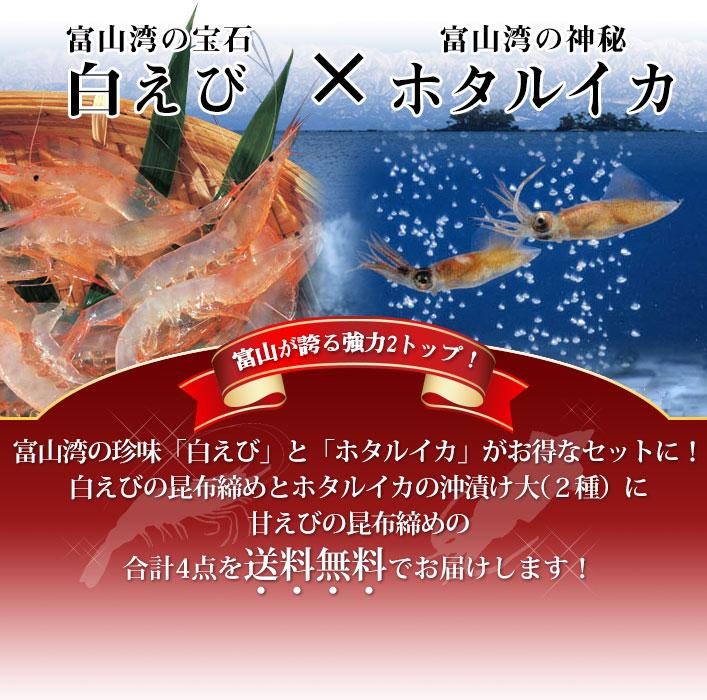 白えび甘えび昆布締めとホタルイカの沖漬け4品セット