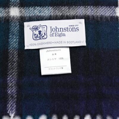 ジョンストンズカシミア大判ストールのブランド織りネーム