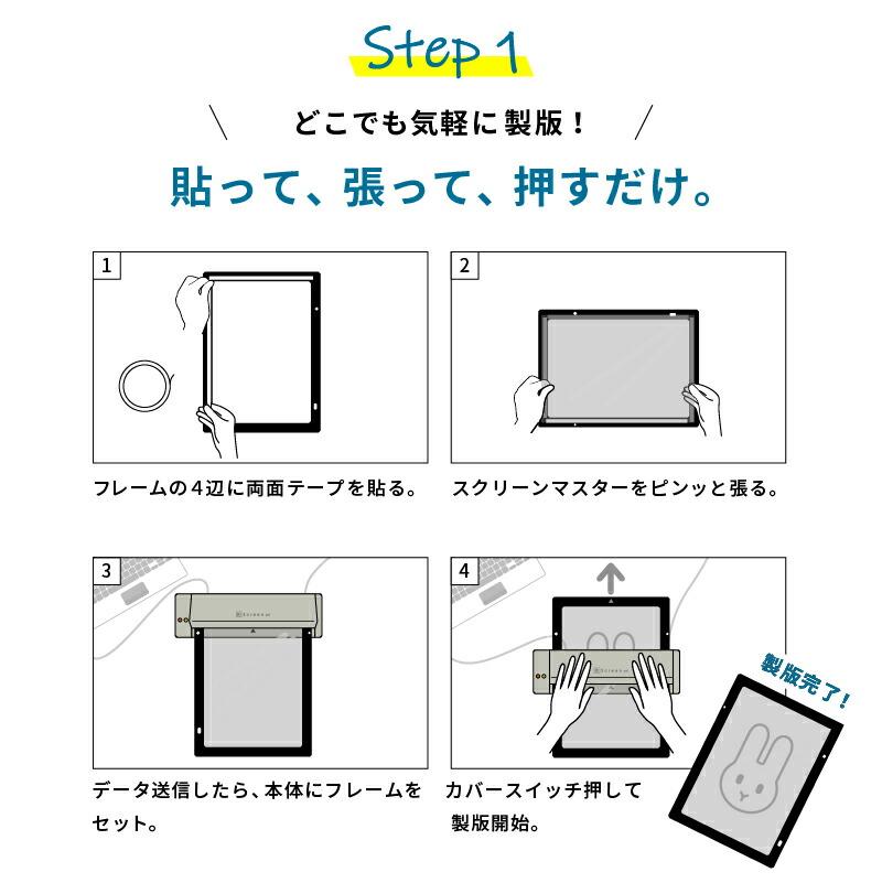STEP1.どこでも気軽に製版!貼って、張って、押すだけ。
