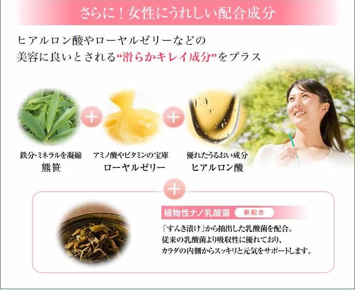 さらに女性にうれしい配合成分 ヒアルロン酸やローヤルゼリーなどの美肌に良いとされる滑らかキレイ成分をプラス 熊笹・ローヤルゼリー・ヒアルロン酸
